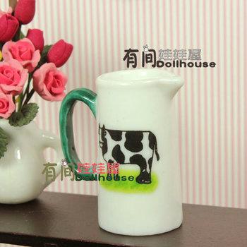 Doll house model ceramic cow milk bottle