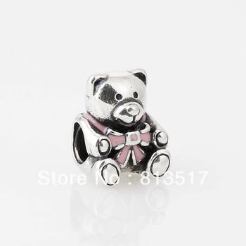 Бесплатная доставка 100% 925 серебряными нитями прелести розовый галстук-бабочка бисер обремененные серебром подходит...