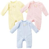 Big loop pile NISHIMATSUYA cotton romper romper blue 3 pastel yellow bodysuit