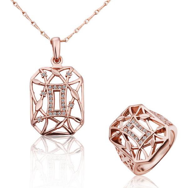 wholesale 18K Rose Gold plated fashion jewelry Austria Crystal,rhinestone,CZ diamond,Nickle Free necklace&ring Set KS207(China (Mainland))