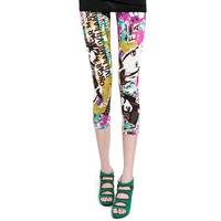 2014 summer new arrival female fashion headcounts doodle scrawl skinny casual pants/Leggings,Free Shipping