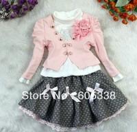 Retail 2013 Spring Girls Clothing Sets Children T shirts+Coat+Skirts Suits Kids Fashion Cotton Clothes LYH018