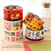 Korea stationery relaxed bear multicolour boxed paper tape diy cartoon transparent tape cloth  2pcs/set