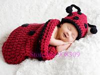 Unisex Baby Infant Ladybug Sleeping Bag Handmade Knit Crochet Animal Costume Photography Photo Props 0-6 Month Newborn Free Ship