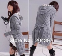 Free shipping Long Sleeve Sweater with cap ladies cardigan long coat 3Colors Black White Gray