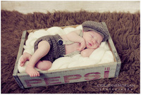 free shipping,Gentleman Handmade Crochet Newborn Baby Boy Beret Hat in Gray,Hat and Braces Diaper Cover Set  Photo Props