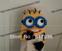 free shipping,100% cotton Despicable Me Minion handmade Children Crochet Hat with Braid
