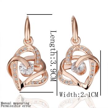 wholesale 18K Rose Gold plated fashion jewelry Austria Crystal,rhinestone,CZ diamond,Nickle Free Heart Drop earrings KE082