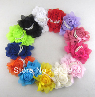 "5.2"" Long x 4"" Wide Chiffon Rose flower with Pearls headband flower 20pcs/Lot -13 Colors, you pick color  - Free shipping"
