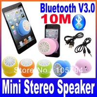 Mini Stereo Bluetooth Speaker Subwoofer Bass Sound Box for iPhone iPod iPad Handsfree Mic Car Suction Cup Free Shipping