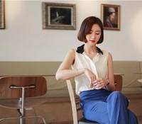 Promotion Free shipping 2013 Women's  Elegant Sleeveless Notched Black collar White Chiffon  Plus size XXXL Tops  Blouse& shirt