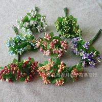 highquality artificial flowers accessories,100branches/pack mulberry fruit with leaves of bouquet for wedding decor or candy box