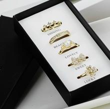 Anéis moda Set incluir 5 peças anéis refeições com caixas originais de fábrica atacado(China (Mainland))