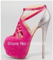 2013 Carlota 160mm grege suede media platform pumps high heels women dress shoe red bottom red sole shoe