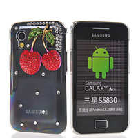 Free shipping Cherry cherries pattern Bling Rhinestone crystal case cover for Samsung Galaxy ACE S5830 From china factory