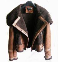 2014 autumn and winter fashion large lapel deerskin lamb wool slim motorcycle leather coat one piece fur short jacket top