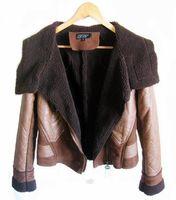 Fashion large lapel 2013 deerskin PU leather lamb wool motorcycle one piece fur coat jacket outerwear top for women