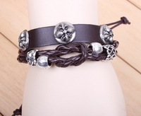 New Lucky Four Leaf Clover Leather Bracelet Personalized Knotted Beads Adjustable Leather Bracelet Free Shipping HeHuanSLQ037