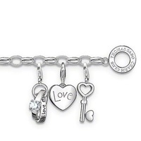 TB0133(Min.Order $15 ) 2013 New Items Thomas Style Gifts 925 Silver Plated Bracelets Three Charms Key Bracelet Cheap Jewelry