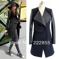 Free Shipping 2013 HOT SALE Women's Winter Long Sleeve Patchwork Wool & Blends Zip Long Woman Basic Jackets, Women's Coat  0893