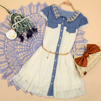 2013 denim patchwork vintage chiffon one-piece dress short-sleeve chiffon skirt