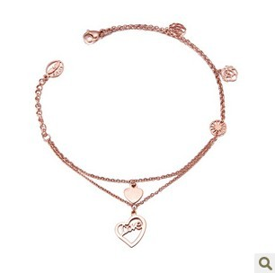 Fashion double layer anklet 18k love heart rose gold anklets