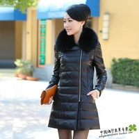 Leather clothing fur collar genuine sheepskin leather down coat leather clothing female genuine leather clothing medium-long