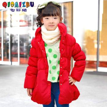 2013 winter new arrivel children's clothing medium-large female child wadded jacket puff sleeve medium-long baby wadded jacket
