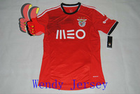 A+++ Top 100% Thai Quality Portugal Benfica 2014 New Home Red Soccer Shirt Kit Football Jersey Benfica Wear Thailand Fan Version