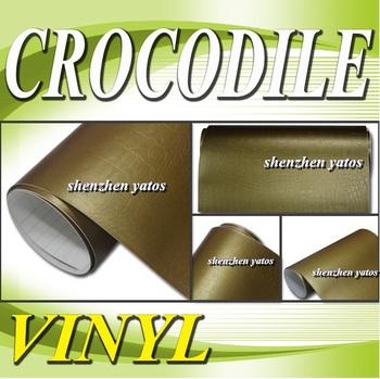 Gold Crocodile skin wrap sticker for car sticker   With Air bubbles 1.52x30M