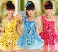 5pcs/lot Children Girls Sequin Dancing Dance Show Costumes Dress Children dance Dress Free Shipping