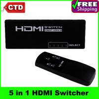5 in 1 HDMI Switcher with Remote Control,  HDMI Switch Box, Support 1080P, 5 Input Ports, 1 Output Port,