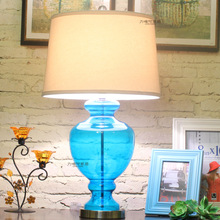 Blue glass table lamp american style table lamp bedroom bedside lamp(China (Mainland))