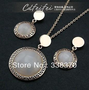 Ringant vintage women cute elegant unique fashion wholesale Opals disc earrings necklace restoring ancient ways suit