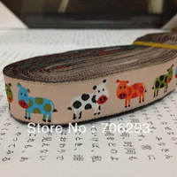Free Shipping wholesale 5/8 '(16 mmx10yards) 100% Polyester Woven Jacquard Ribbon Orange green blue and white cow lace