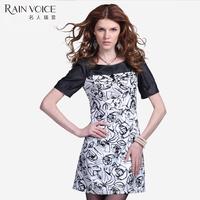 Ol outfit medium skirt one-piece dress 2013 short-sleeve o-neck pullover mid waist one-piece dress