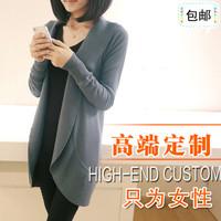 autumn plus size slim coat thin sweater female fashion medium-long long-sleeve cardigan