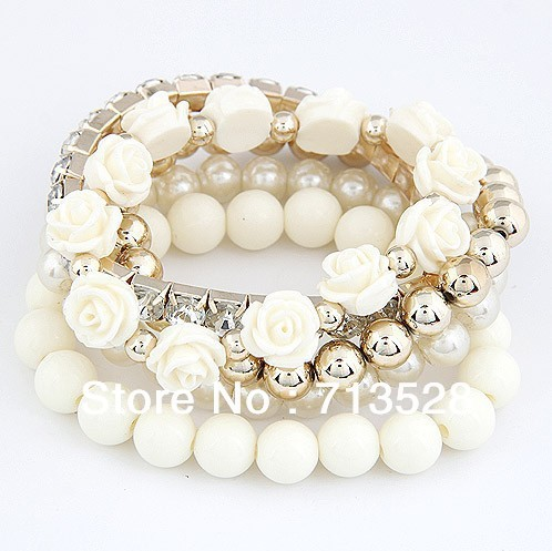 Mix flower beads stretch bracelet temperament fashion bangle bead bracelet(China (Mainland))