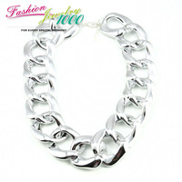 2013 Newest European Shiny Cut Light Material CCB Gold Plated Chunky Curb Chain Choker Statement Necklace Big Jewelry