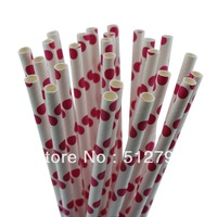 Free shipping wholesale paper drinking straws party supply wedding supplies Polka Dot hot red color  500pcs