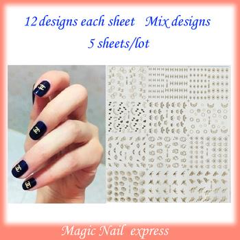 Fashion new water transfer gold metal nail art stickers nail polish sticker nail arts nail foil adhesive