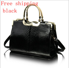 2013 Spring And summer Handbags crocodile Leather Hand Of light Leather Shoulder Bag Special tide Female Package free Shipping(China (Mainland))