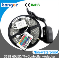 12V RGB 3528 300leds non-waterproof LED Strip Light 5M/Lot+24w Power Adapter ,just RGB with 24Keys IR Remote