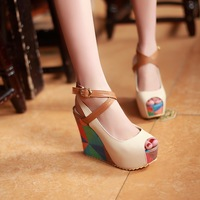 2013 platform sandals wedges female sandals open toe shoe women's summer high-heeled shoes