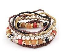 Bohemian mix of beads multilayer bracelet fashion bangle bead bracelet