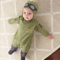 LS042 Retail  Free ship New baby romper/full sleeve boy girl cool pilot romper/kids bodysuits jumpsuits/ Little Sun