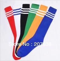 Best Selling!Women Stripe Cotton High Knee Football Sports Socks 5pair/lot Free Shipping