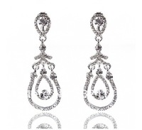 Cheap!! New wedding fashion rhinestone earrings shiny crystal bridal earrings wholesale hot sale fashion jewelry