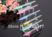 Free Shipping 5pcs/lot clear plastic pen display stand holder rock Organizer for 6pcs pen lipstick display pen box case