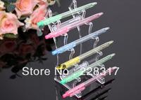 Free Shipping 5pcs/lot clear plastic pen display stand holder rock Organizer for 6pcs pen lipstick display pen box case